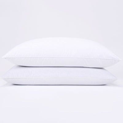 PUREDOWN - Feather and Down Pillow, Triple Chamber Design, 100% Cotton Fabric, Set of 2