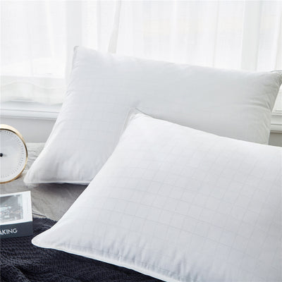 PUREDOWN - White Duck Down Pillows, 600 Fill Power, Cotton Cover, Set of 2