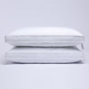 2 Pack Quilted Gusseted Feather and Down Pillow for Side and Back Sleepers, 100% Cotton Cover
