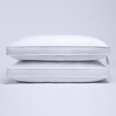 Puredown 2 Pack Quilted Gusseted Feather and Down Pillow for Side and Back Sleepers, 100% Cotton Cover
