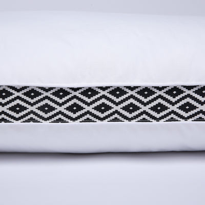 2 Pack Black Diamond Lattice Firm Feather Pillows, Gusseted Bed Pillow with 100 % Cotton Cover