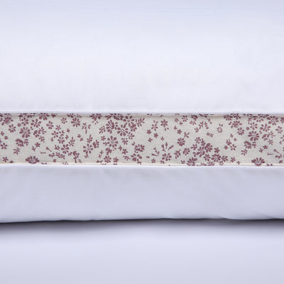 PUREDOWN Burgundy Floral Gusset Down Feather Pillow for Sleeping, 100% Cotton Shell, Set of 2
