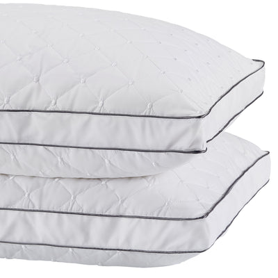 2 Pack Goose Feather Gusset Pillows for Side and Back Sleepers 100% Cotton Embroidered Cover