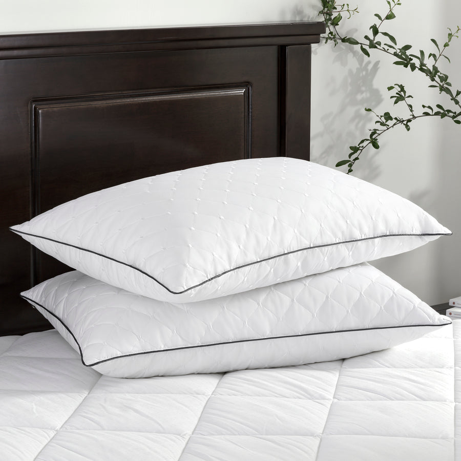 2 Pack Goose Feather Pillows for Side and Back Sleepers, 100% Cotton Embroidery Cover