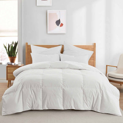 Puredown All Season UltraFeather Comforter 100% Cotton Cover, Machine Washable Down Comforter
