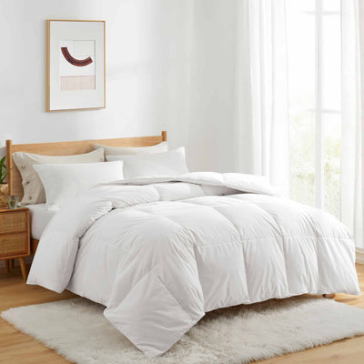 Puredown White Goose Down and UltraFeather Comforter for Winter, 100% Cotton Cover, Heavy Weight Comforter