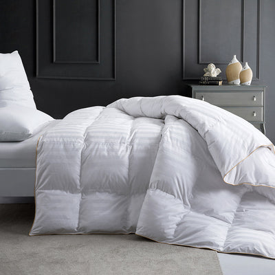 Baffle Box White Goose Down Feather Blend Comforter, 100% Cotton Cover 500 TC