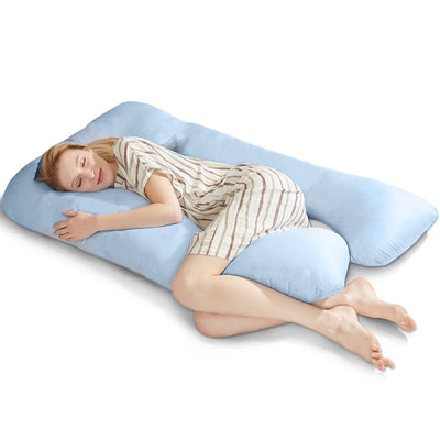 PUREDOWN - Maternity/Pregnancy Contoured Body Pillow, U Shaped, Zippered Cover
