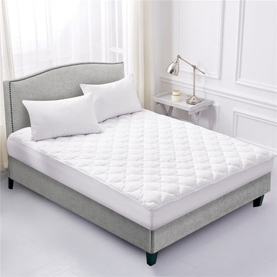 PUREDOWN Four Leaf Clover Quilted Down Alternative Mattress Pad, Stretches up to 18 Inches Deep