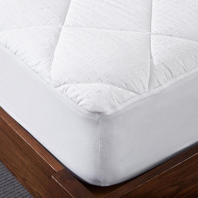 PUREDOWN Hypoallergenic Down Alternative Mattress Pad, Quilted Fitted, Stretch up to 18 Inch Deep, 100% Cotton Top and Bottom