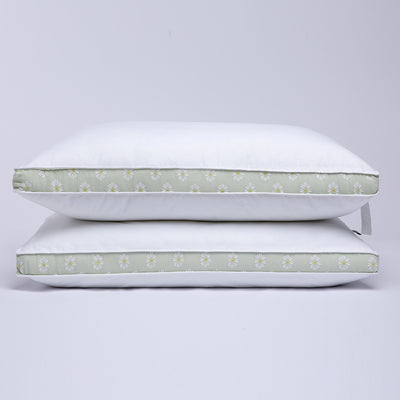 Puredown Mint Green Daisy Gusseted Polyester Pillow, 100% Cotton Shell, 2 Pack