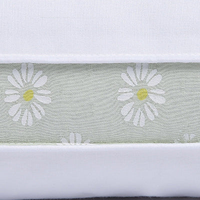 Puredown - Mint Green Daisy Gusseted Polyester Pillow, 100% Cotton Shell,Set of 2