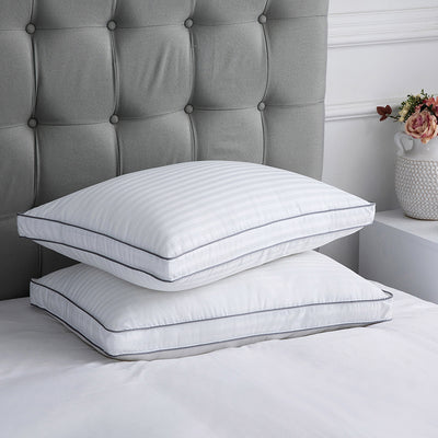 2 Pack Down Alternative Gusseted Pillows Silver Color Piping 100% Cotton Fabric