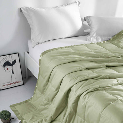 Puredown | Lightweight Down Blanket | Satin Trim, Oversized Down Blanket 100% Cotton Cover