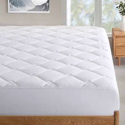 Antibacterial Down Alternative Mattress Pad 100% Cotton Cover