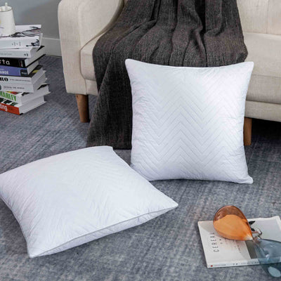 2 Pack Goose Feather Throw Pillows Square Decorative Pillow Inserts for Couch or Bed