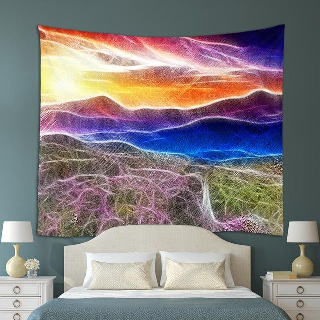 Neon Landscape Tapestry