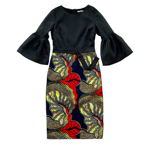 Akachi Bell Sleeve African Print Midi Dress