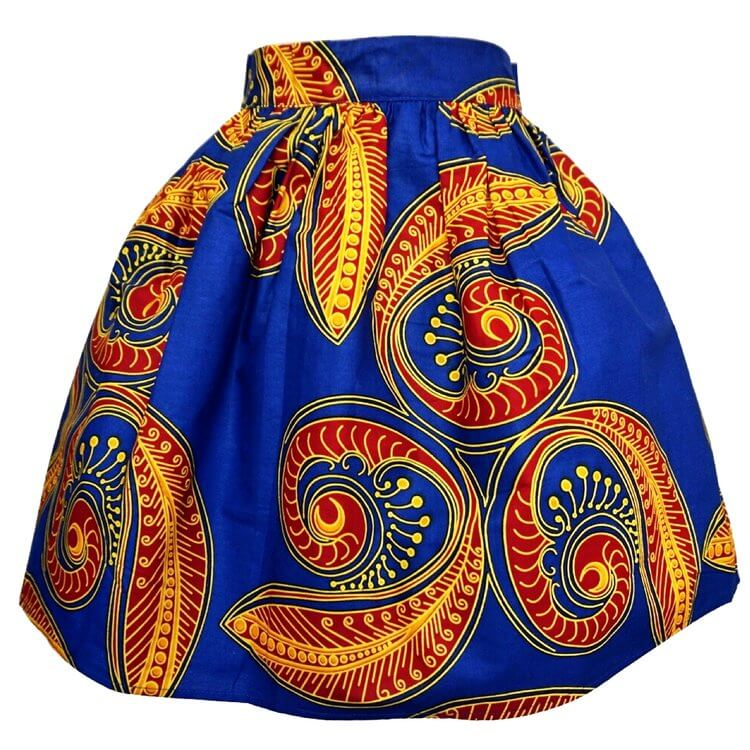 Waju African Print Mini Skirt - Blue