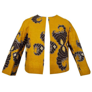 Taby Cropped African Print Jacket - Mustard