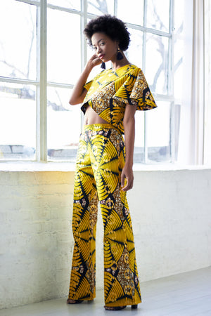 Layo African Print Wide Leg Pants - Yellow
