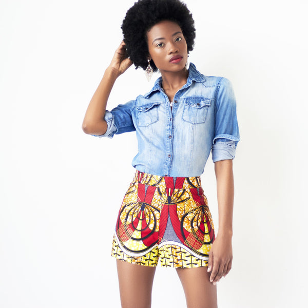 ankara high waist shorts
