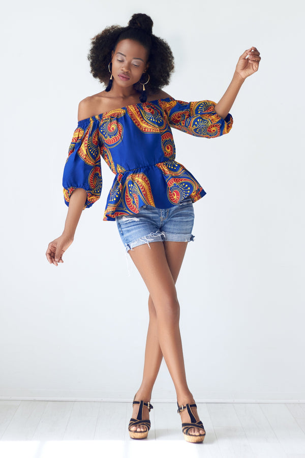 Rayo Bishop Sleeve Off Shoulder African Print Top - Blue/Red