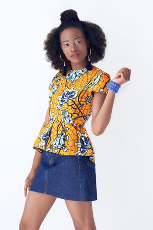 Jodi African Print Peplum Top - Yellow