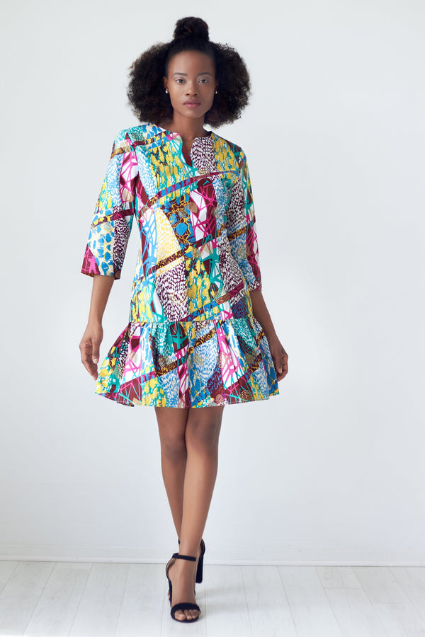 Dora African Print Peplum Hem Dress - Color Splash