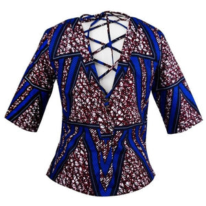 Prissy Lace Up V-Back African Print Top
