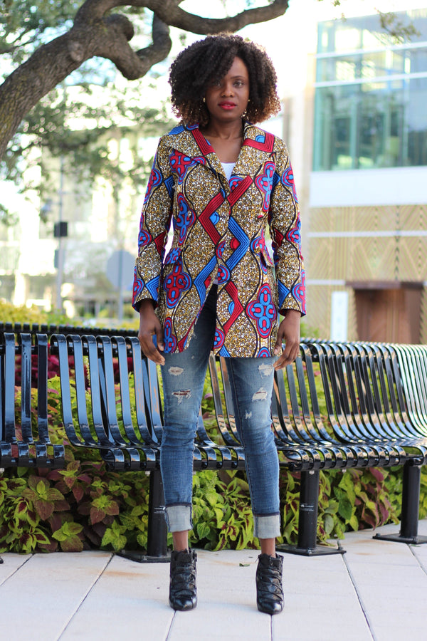 Dami Double-Breasted Mini African Print Blazer Dress