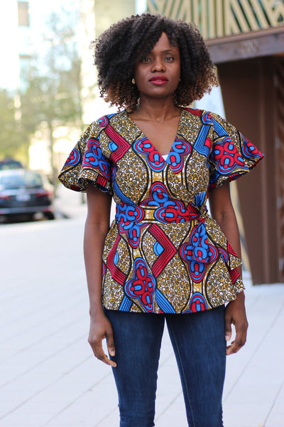 Ife African Print Wrap Top