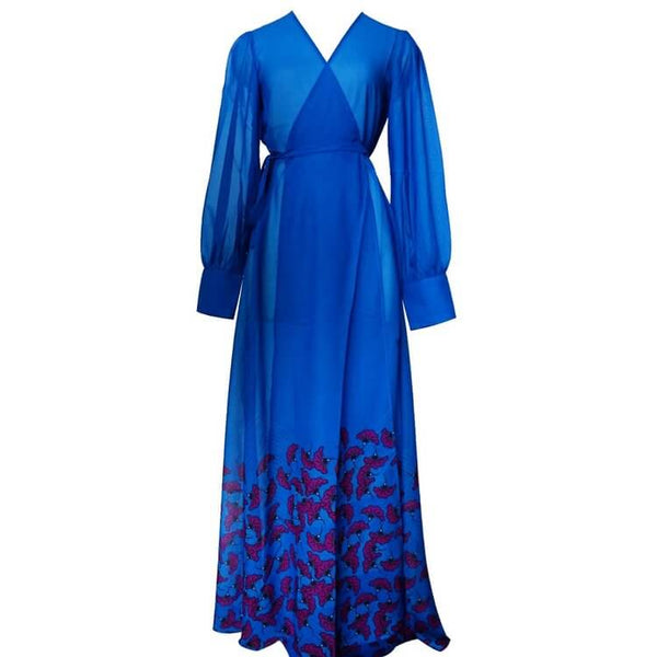 Nelly Chiffon Maxi African Print Wrap Dress