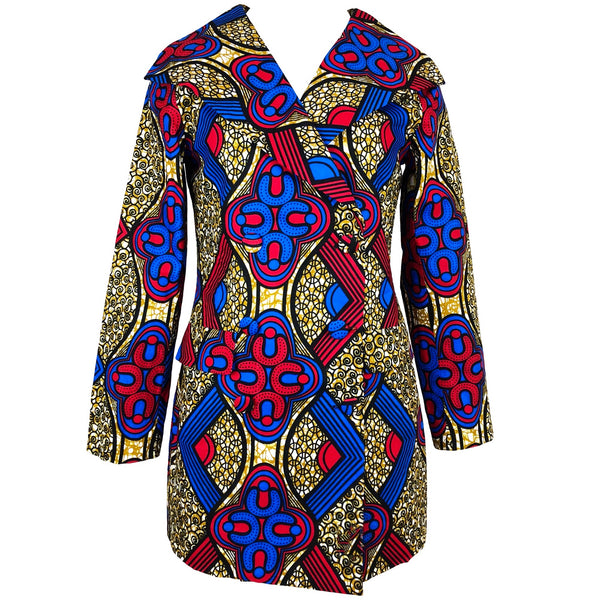 Dami Double-Breasted Mini African Print Dress/Jacket