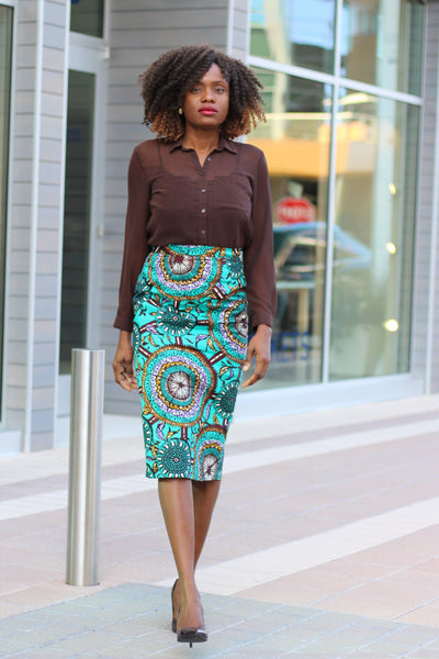 Kenny African Print Midi Pencil Skirt - Teal