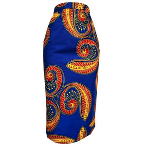 Kenny African Print Midi Pencil Skirt - Blue