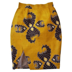 Ally Faux Wrap African Print Skirt - Mustard