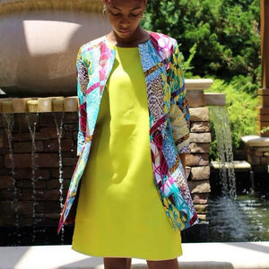 Yinka Open-Front African Print Jacket - Color Splash