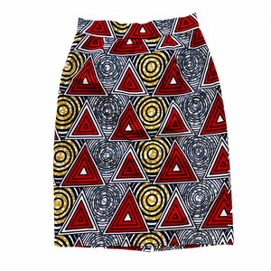 Red African Print Pencil Skirt / Size Medium