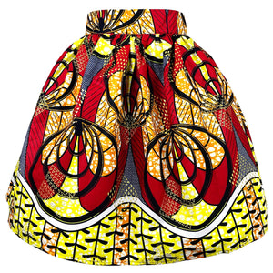 Waju African Print Mini Skirt - Red