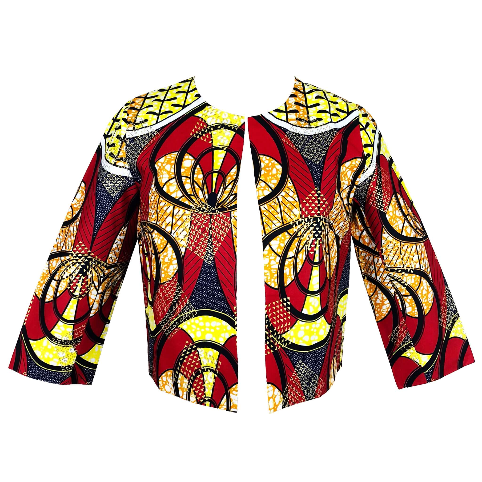 Taby Cropped African Print Jacket - Red