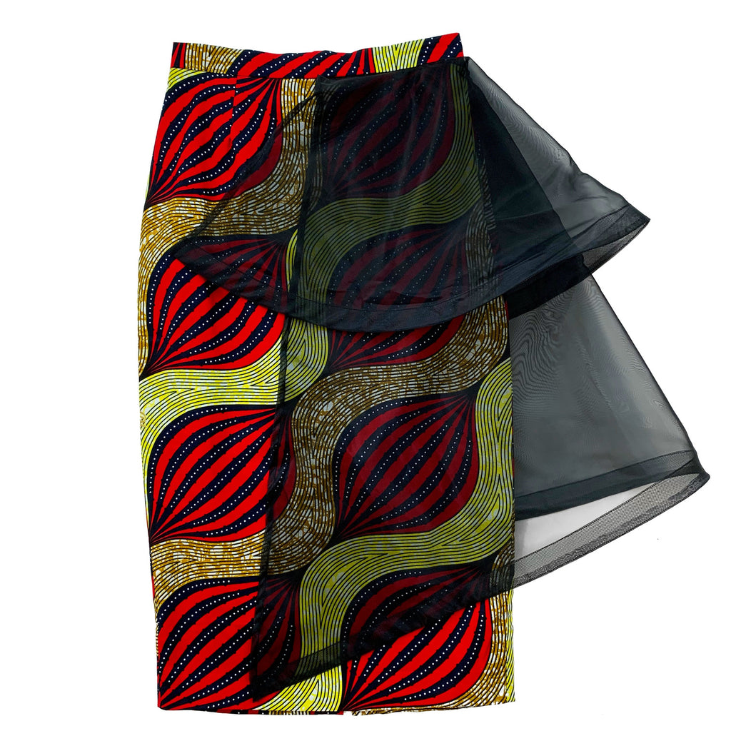 Bola Layered Organza African Print Midi Pencil Skirt