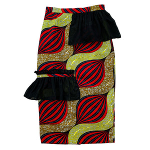 ChiChi Side Ruffle African Print Skirt
