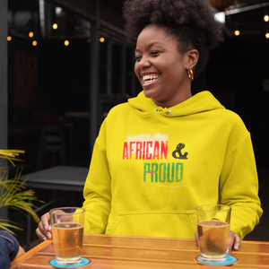 AFRICAN and Proud Unisex Hoodie - Gold