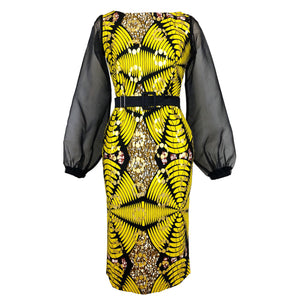 Jasmine Bishop Sleeve African Print Midi Dress - Yellow