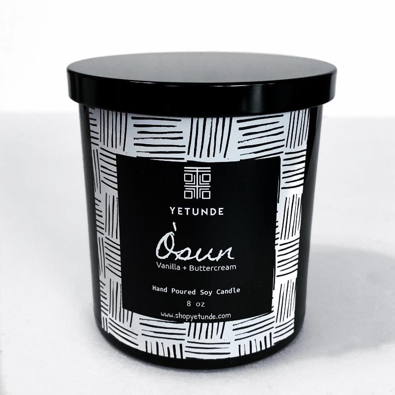 Osun Vanilla + Buttercream Candle - Black Glass Jar