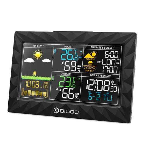 DIGOO DG-TH8988 Colorful Large Screen Weather Station Ultra Thin Body Geometric Design Sunrise Sunset Display Outdoor Indoor Thermometer Hygrometer Temperature Humidity Remote Sensor