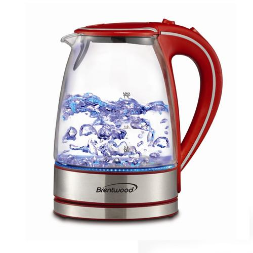 Brentwood Tempered Glass Tea Kettles, 1.7-Liter, Red
