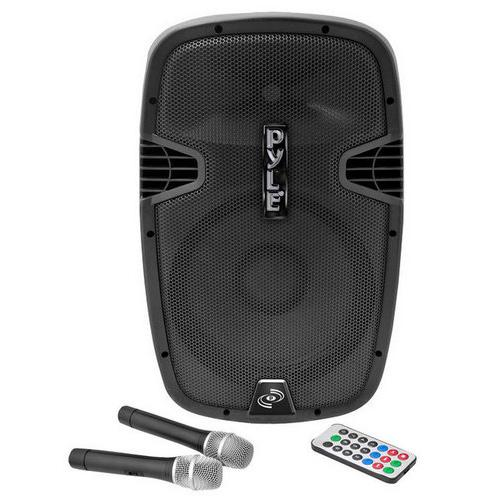 Portable Hi-Power Bluetooth PA Loudspeaker System, Built-in Rechargeable Battery, 2 Microphones, 12'' 1000 Watt