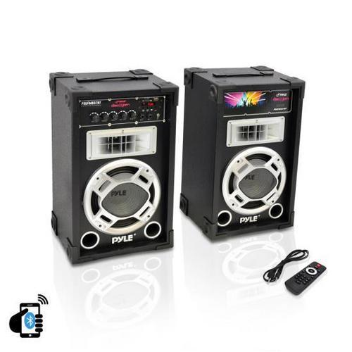 Dual 800 Watt Disco Jam Powered Two-Way PA Bluetooth Speaker System w/ USB/SD Card Readers, FM Radio, 3.5 mm AUX Input (Active & Passive Speakers)